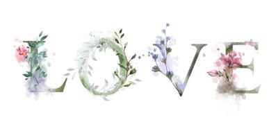 litery ze sztucznych kwiatów