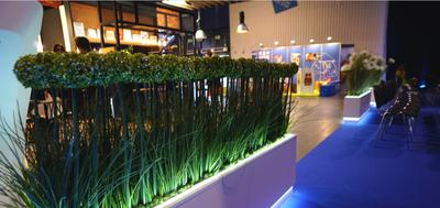 sztuczna roślinność w scenografii targowej