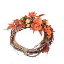 Jesienny wieniec na drzwi z różą (NN141)