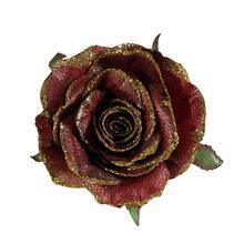 Róża metalik z brokatem - główka (W028X)
